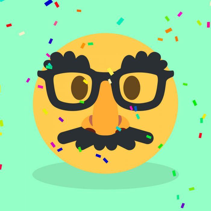 Emoji mit Brille und Schnauzer auf mintfarbenen Hintergrund mit Konfetti.
