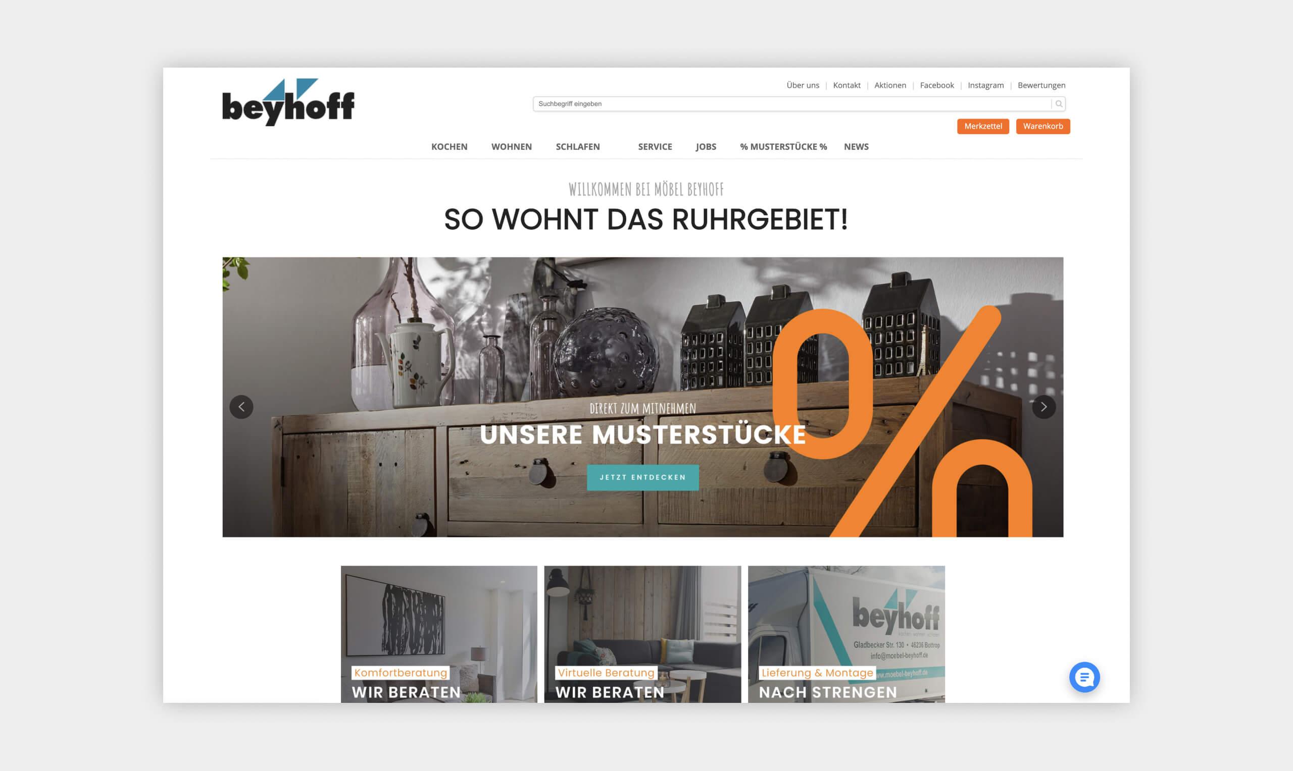 Auszug als Screenshot aus der Website von Möbel Beyhoff.