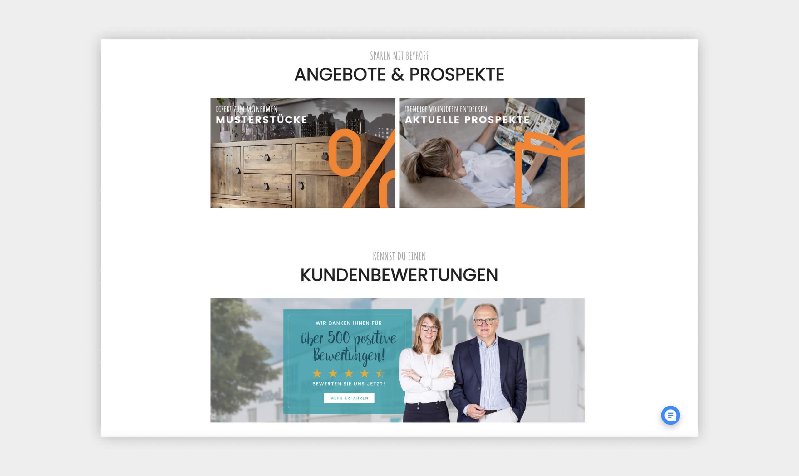 Auszug als Screenshot aus dem Angebotsbereich der Website von Möbel Beyhoff.