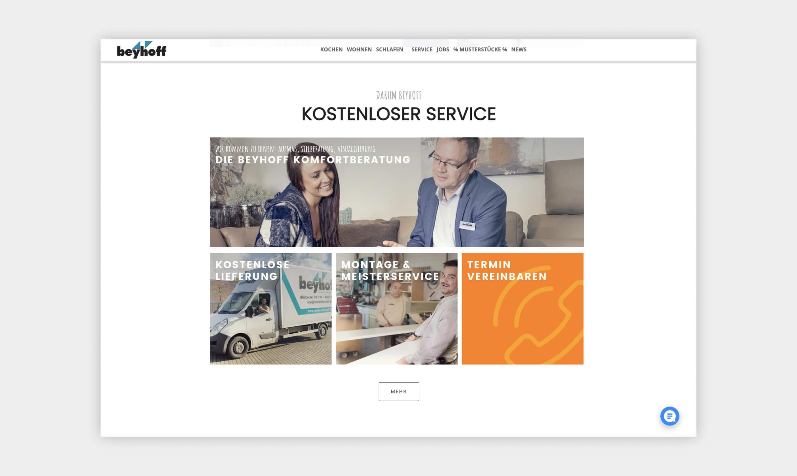 Auszug als Screenshot aus dem Servicebereich der Website von Möbel Beyhoff.