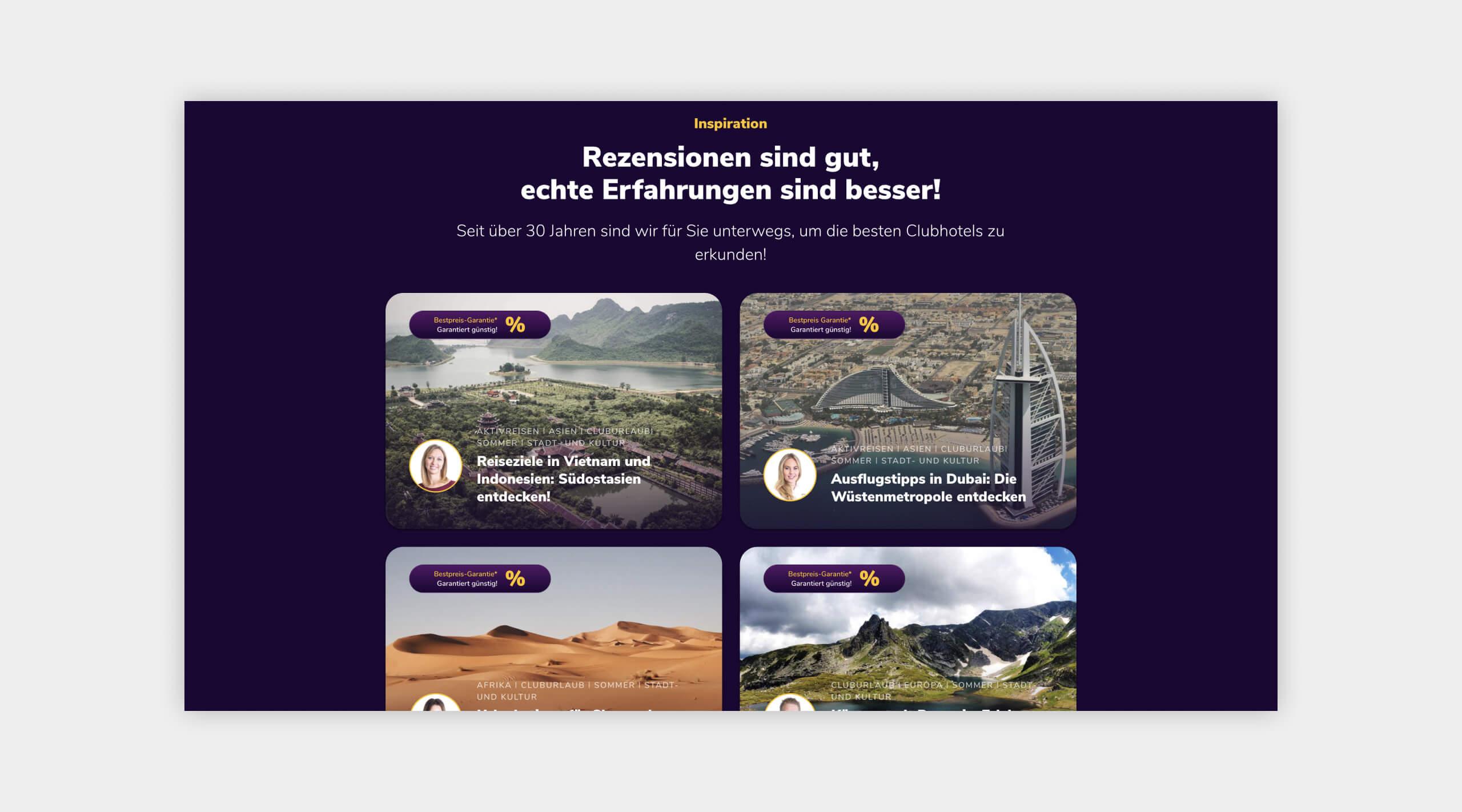Auszug als Screenshot von Inspirationen auf der Website vom ReiseClub24.