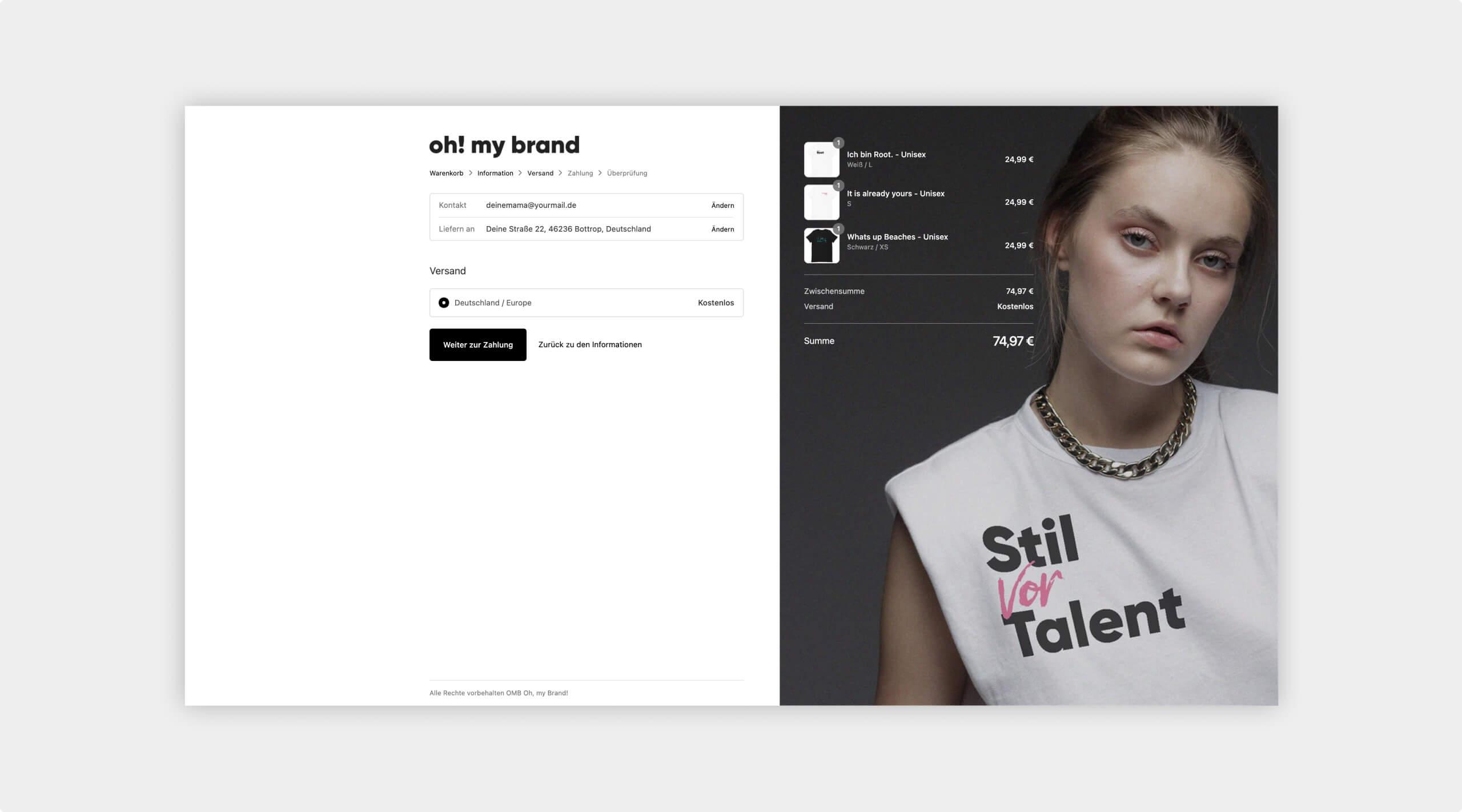 Checkout-Screen bei Bestellung von Shirts.