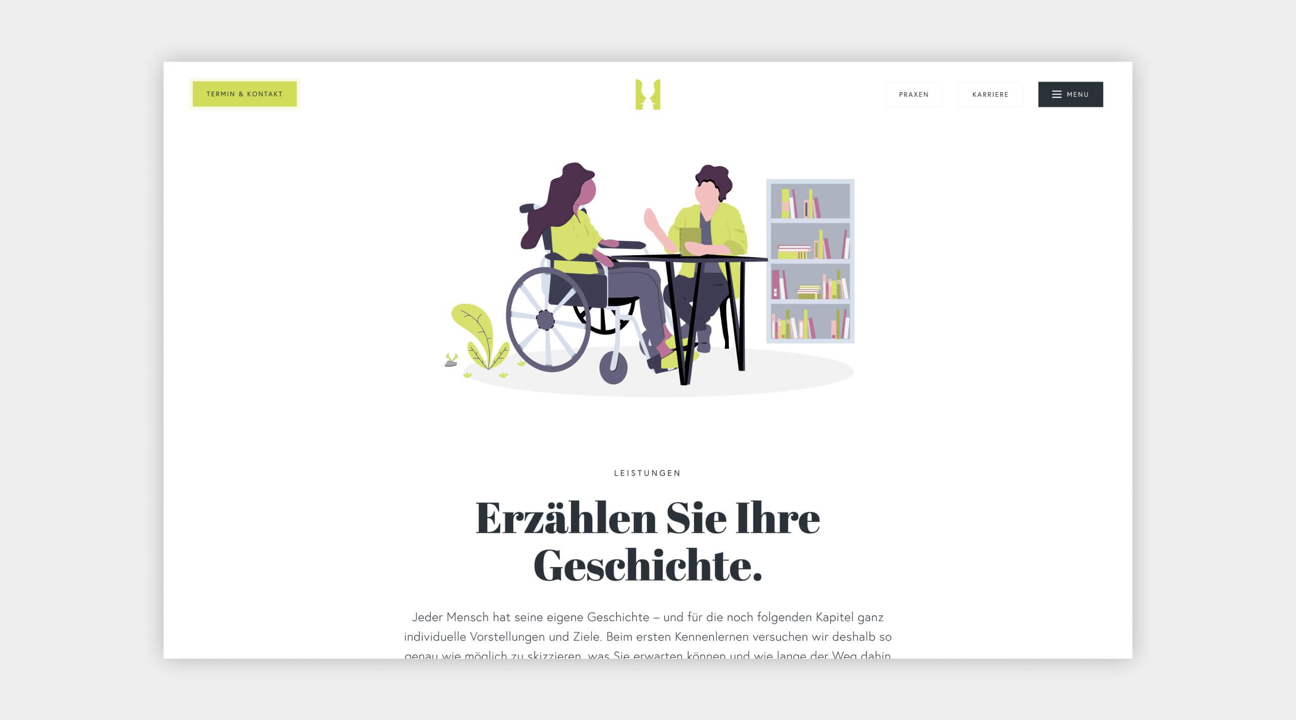 Auszug als Screenshot vom Leistungsbereich auf der Website von Logopädie Vest.