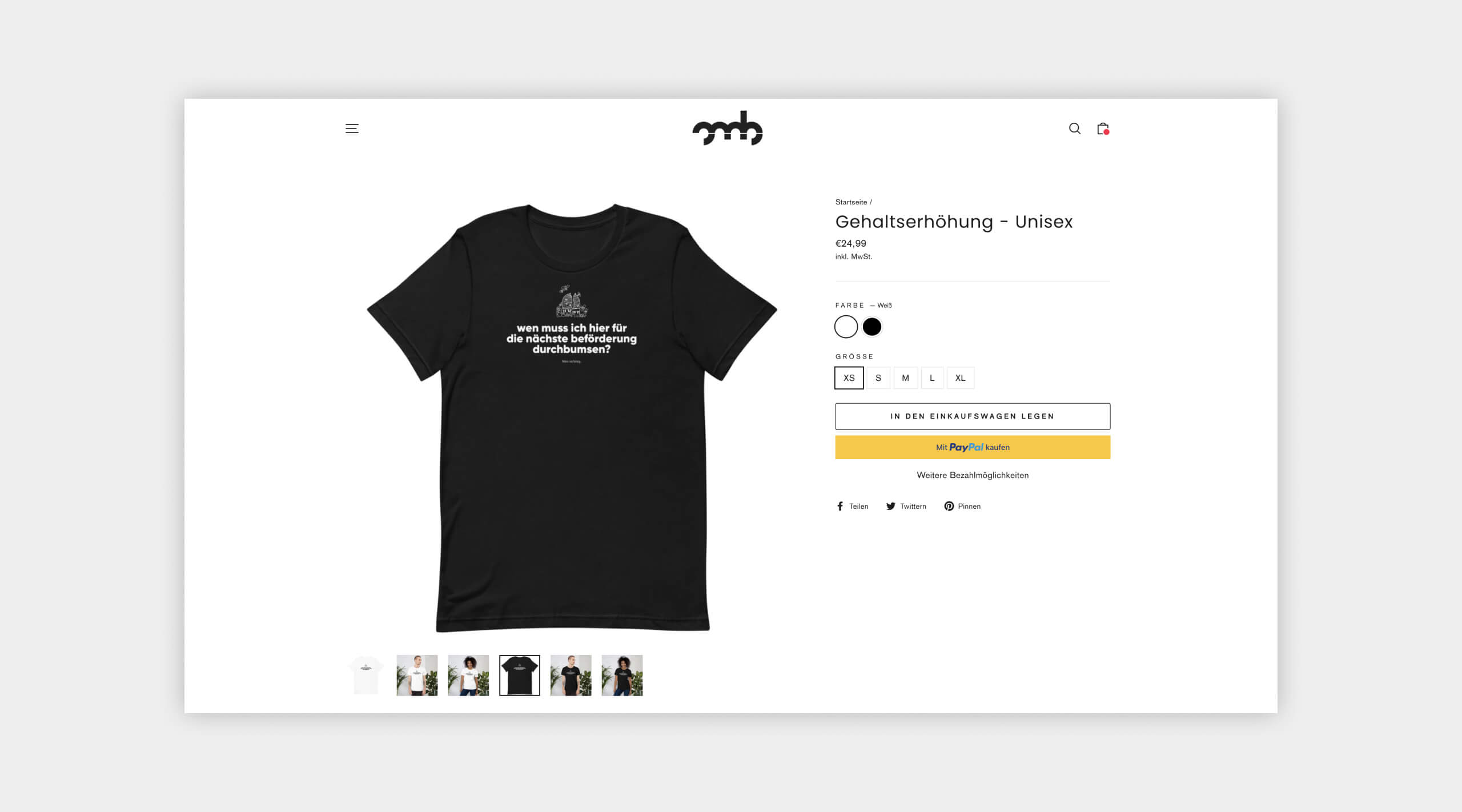 Auszug einer Produktansicht aus dem Webshop von OMB Oh, my Brand!
