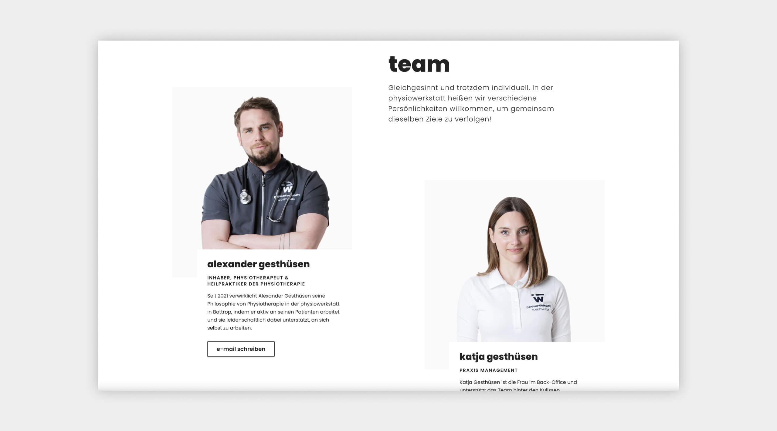 Auszug als Screenshot vom Teambereich auf der physiowerkstatt Website.