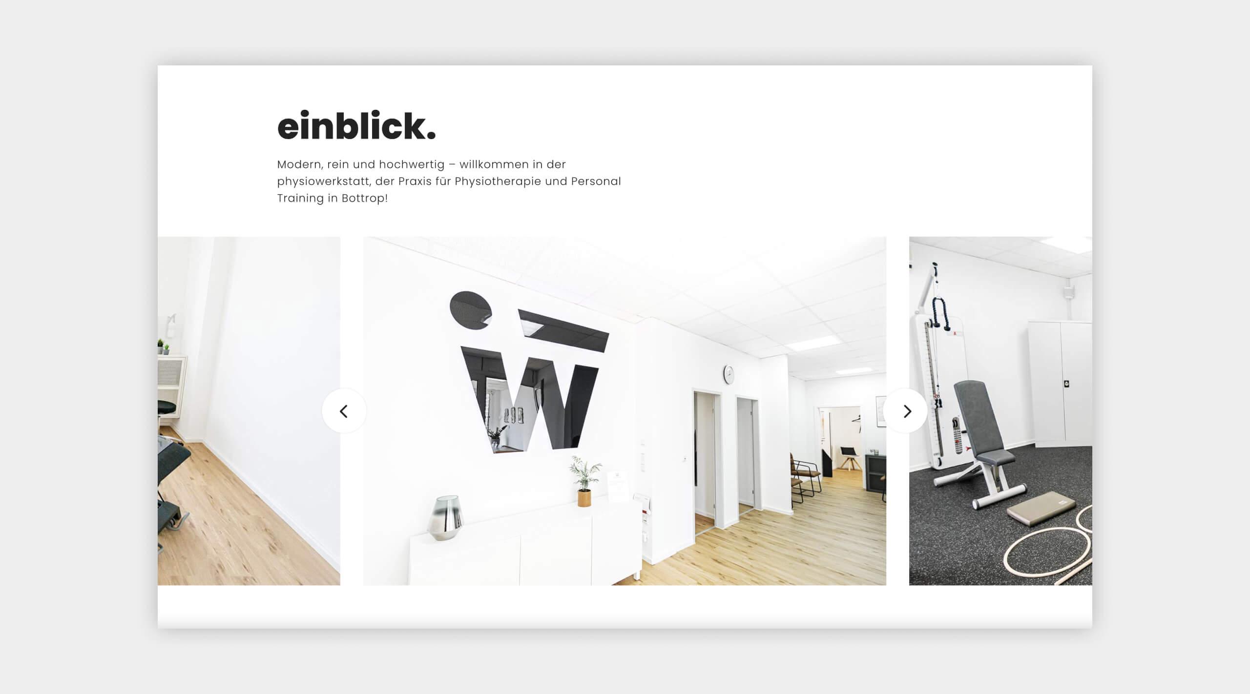 Auszug als Screenshot vom Galeriebereich auf der physiowerkstatt Website.