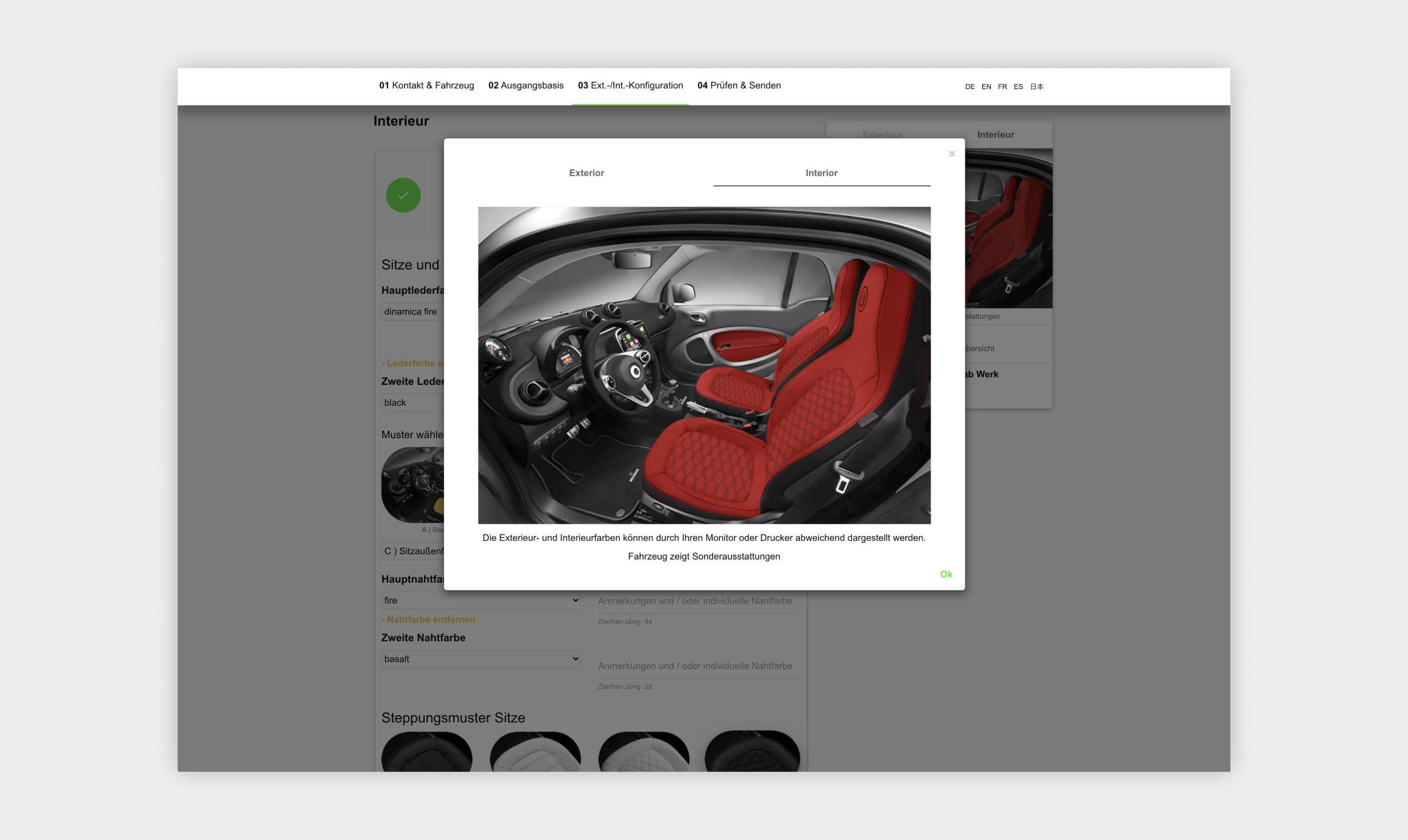 Auszug als Screenshot der Interieuransicht des smart Brabus Konfigurators .
