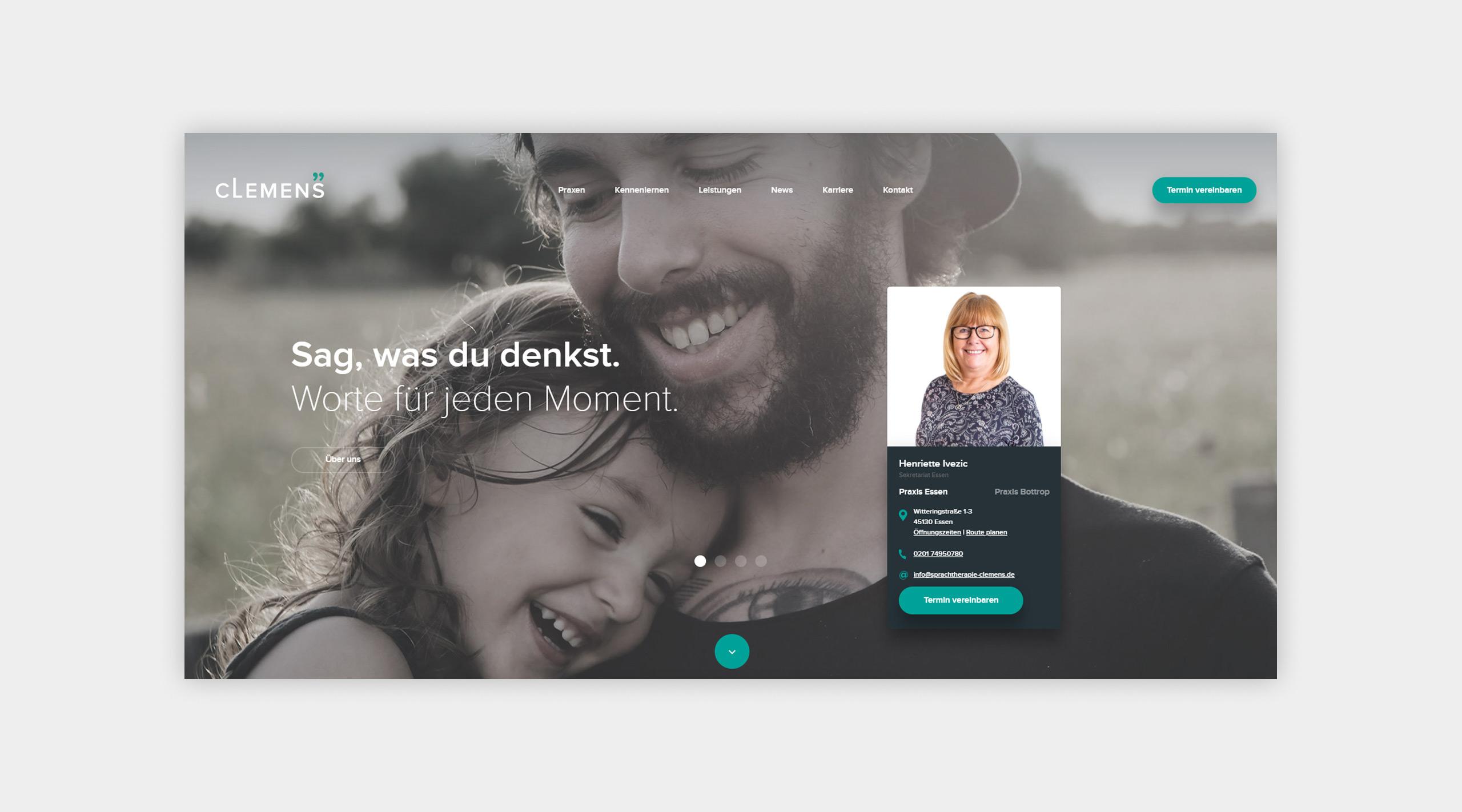Auszug als Screenshot der Website von Sprachtherapie Clemens.