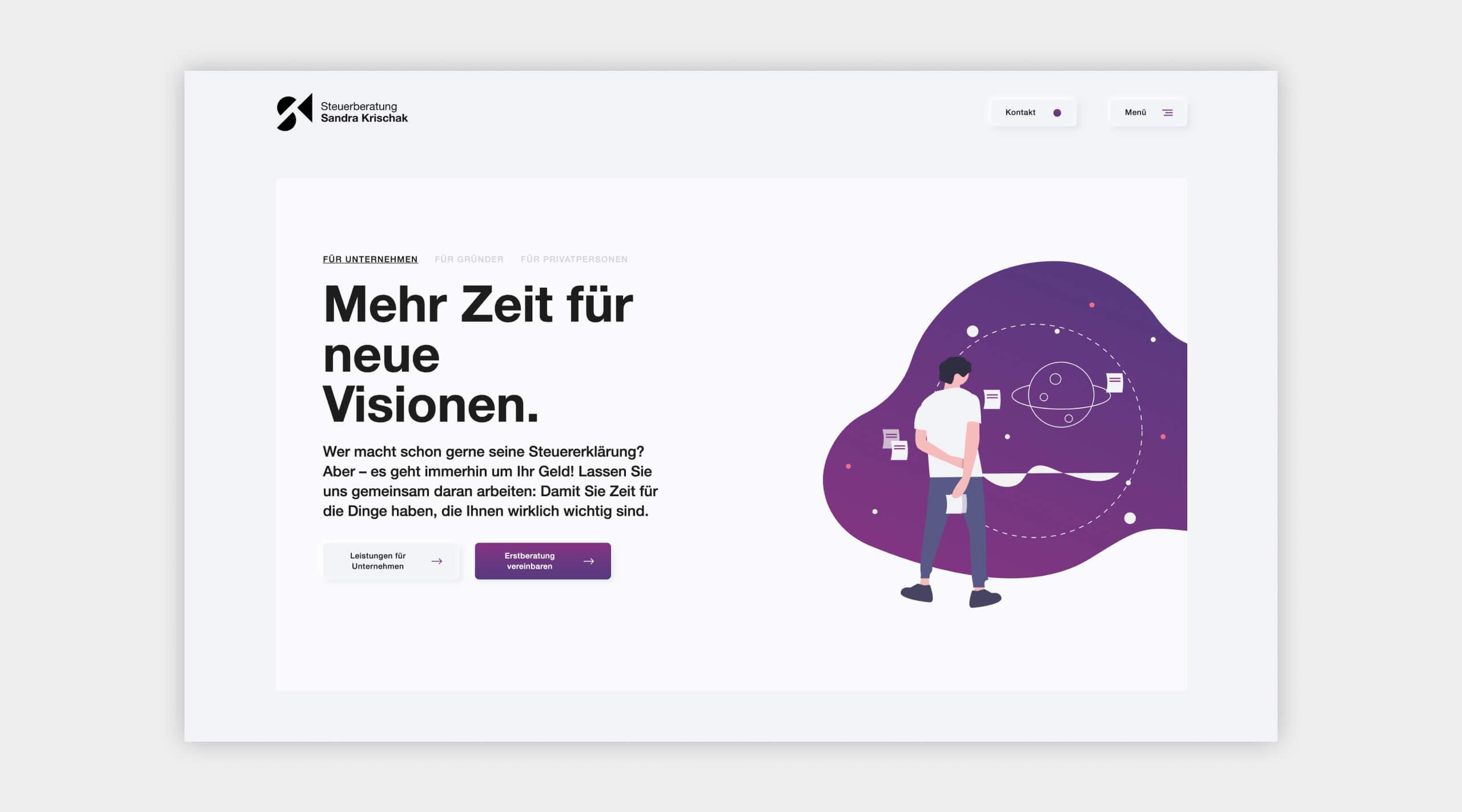Auszug als Screenshot von der Website von Steuerberatung Krischak.