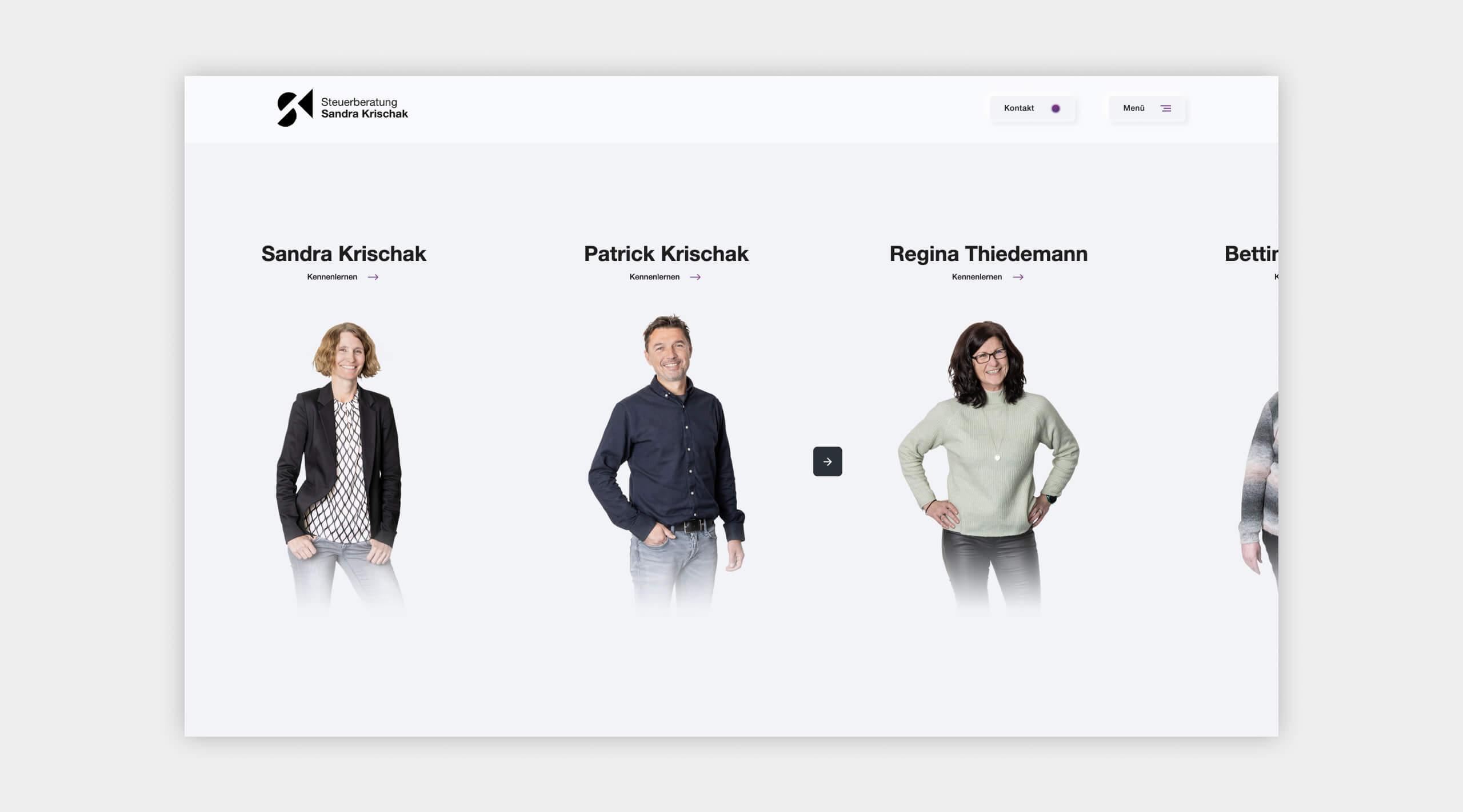Auszug als Screenshot vom Teambereich auf der Website von Steuerberatung Krischak.
