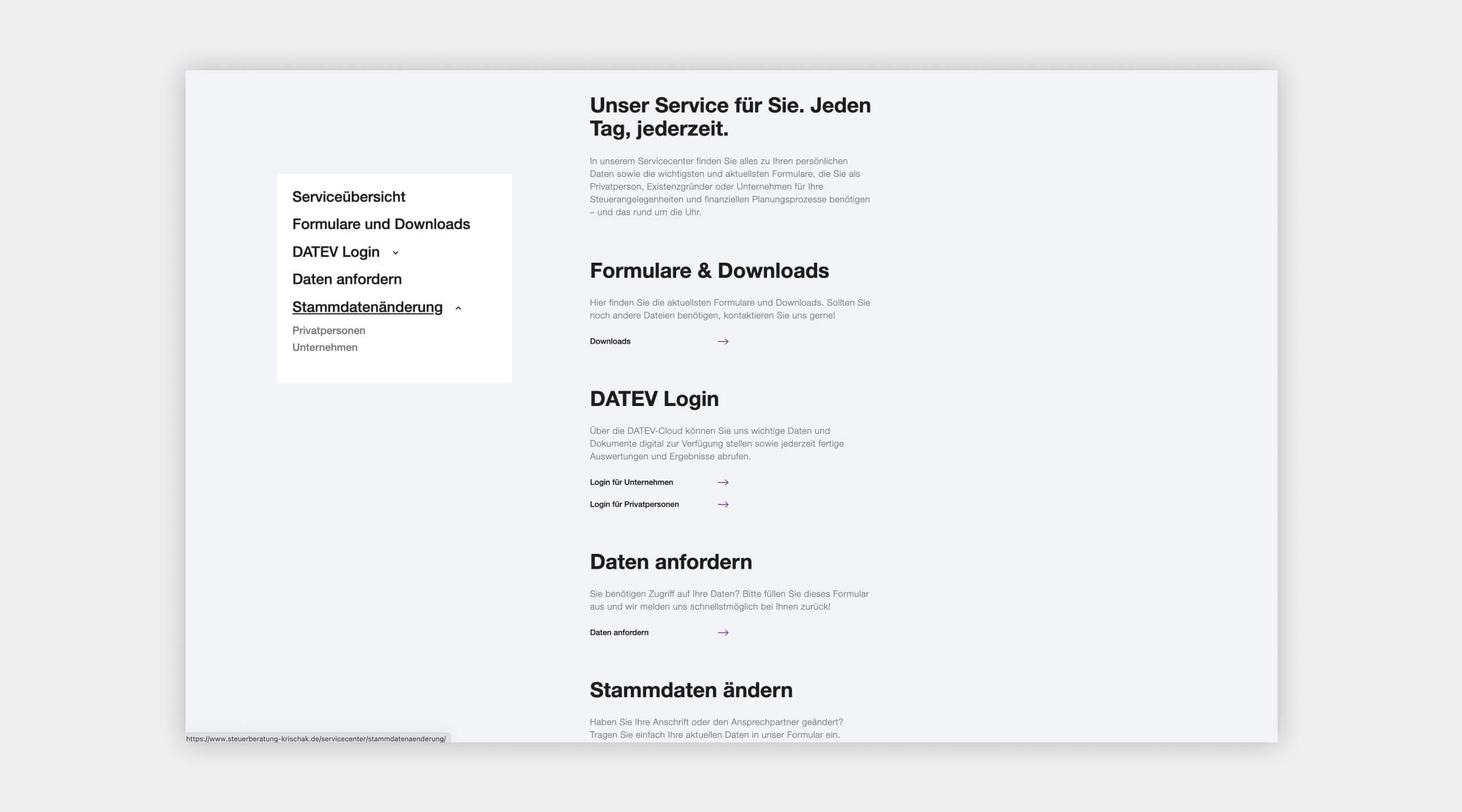 Auszug als Screenshot vom Servicebereich auf der Website von Steuerberatung Krischak.