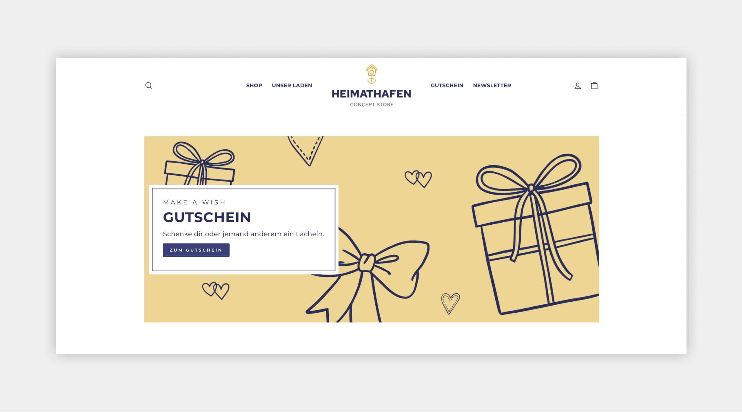 Auszug als Screenshot vom Heimathafen Concept Store Webshop Gutschein.