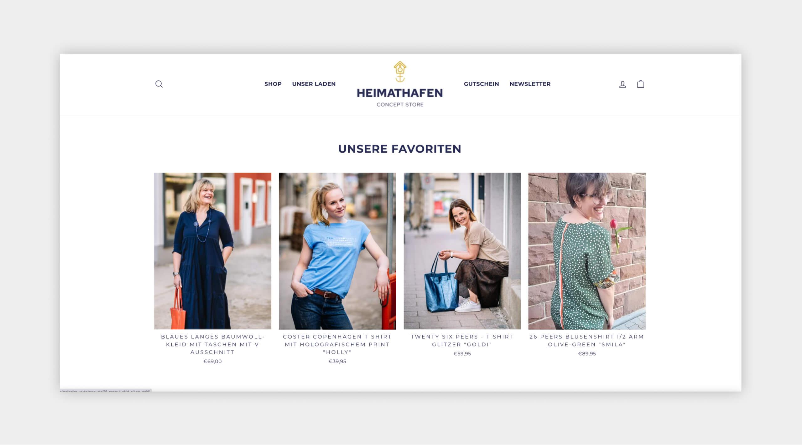 Auszug als Screenshot vom Heimathafen Concept Store Webshop Favoriten.