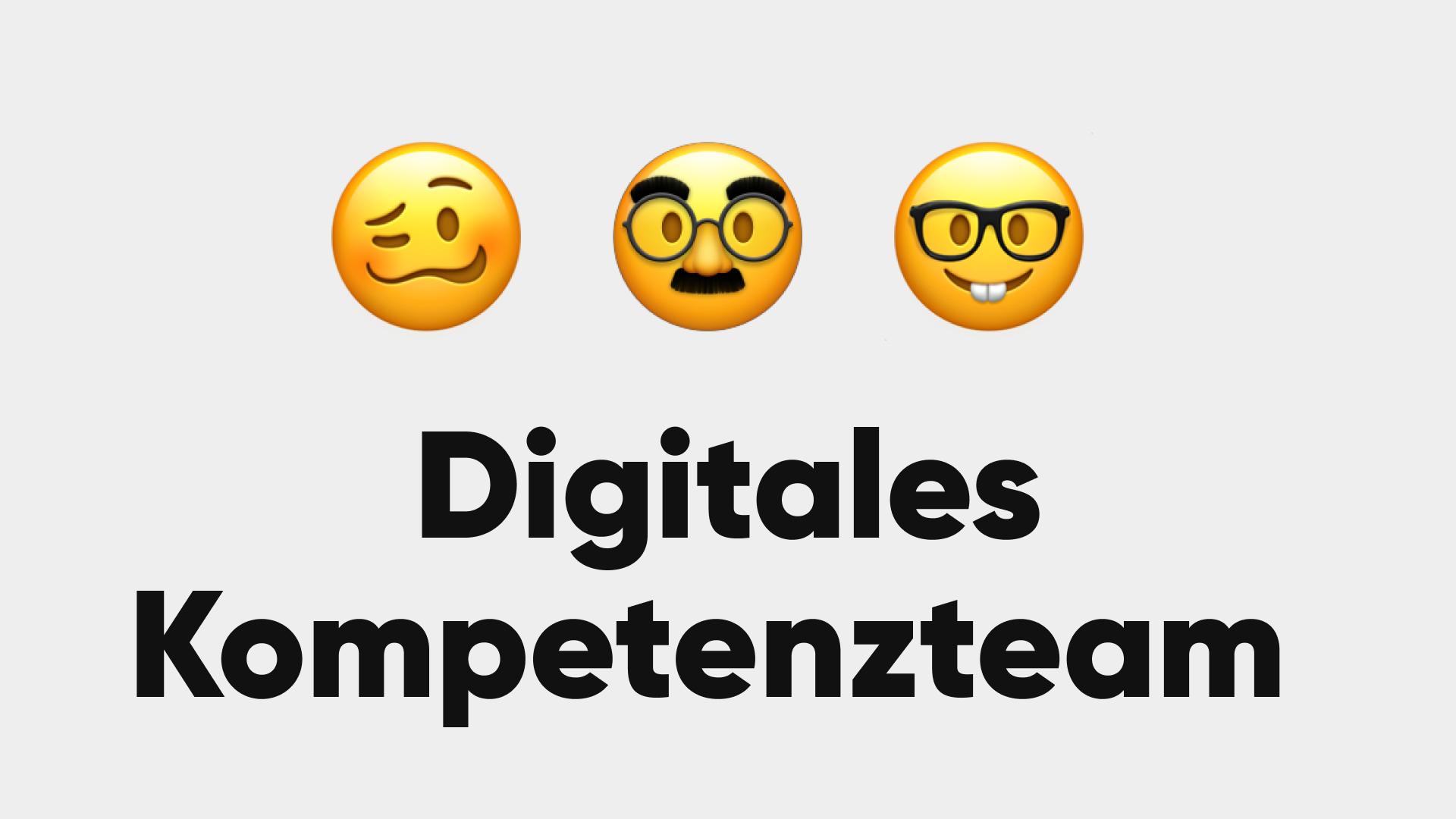 Drei Gesichter, darunter der Schriftzug Digitales Kompetenzteam.