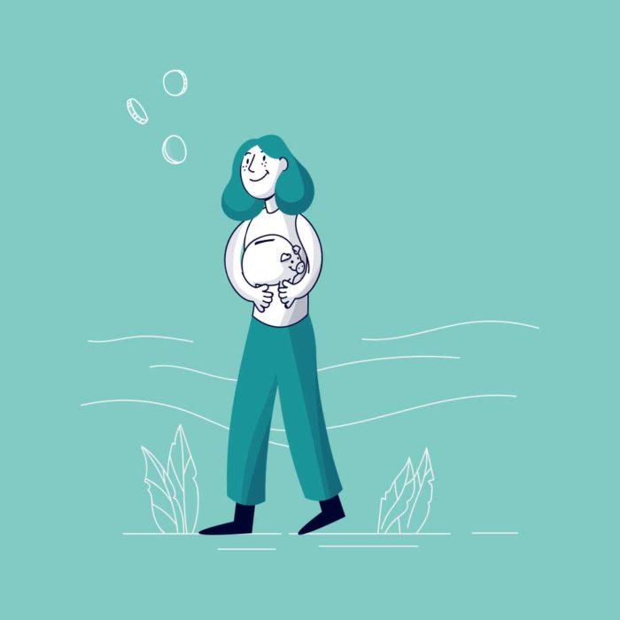 Illustration einer Frau die ein Sparschwein in der Hand hält.