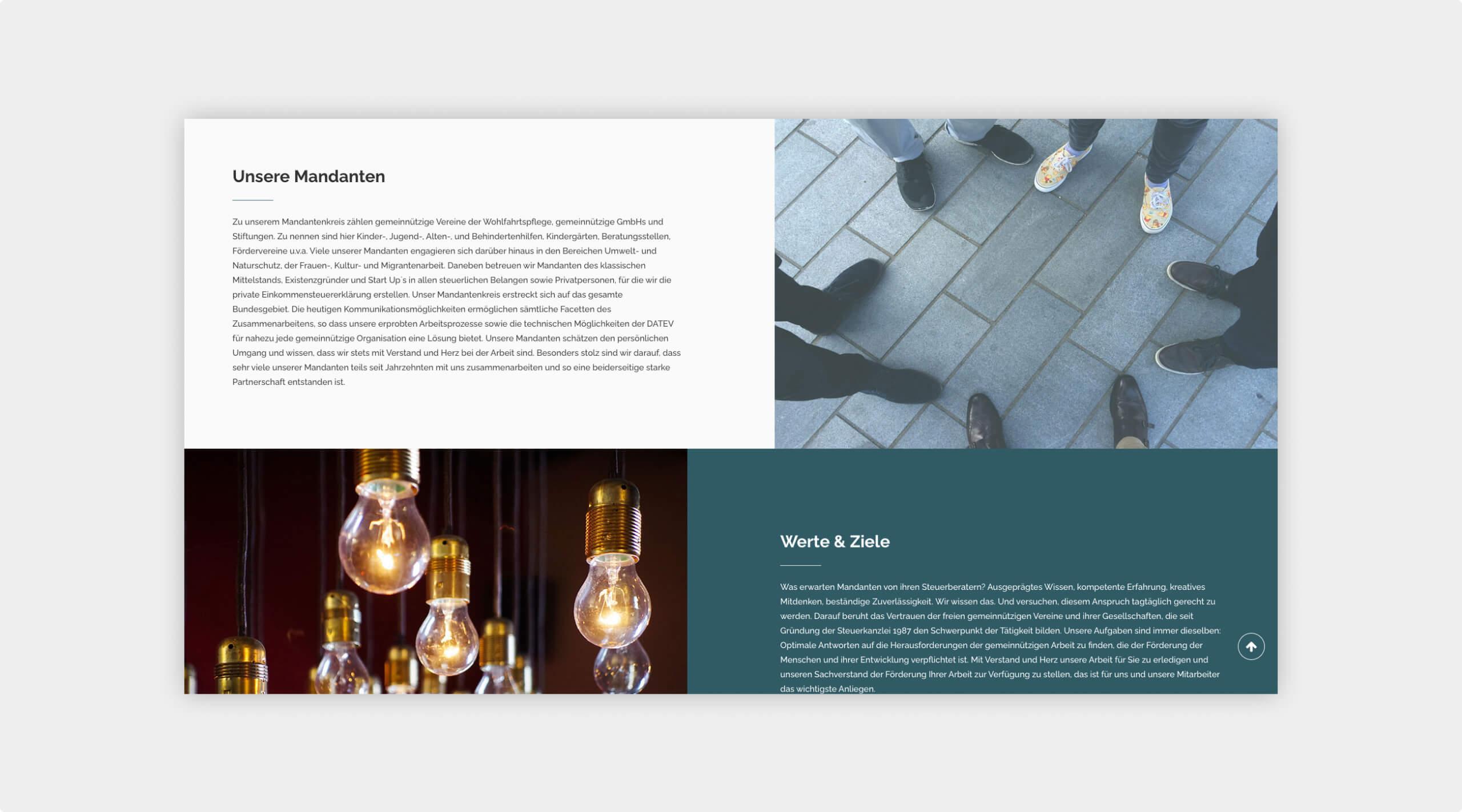 Screenshot weiterer Bereiche auf der Website von Steuerberatung Jahry & Hausmann.