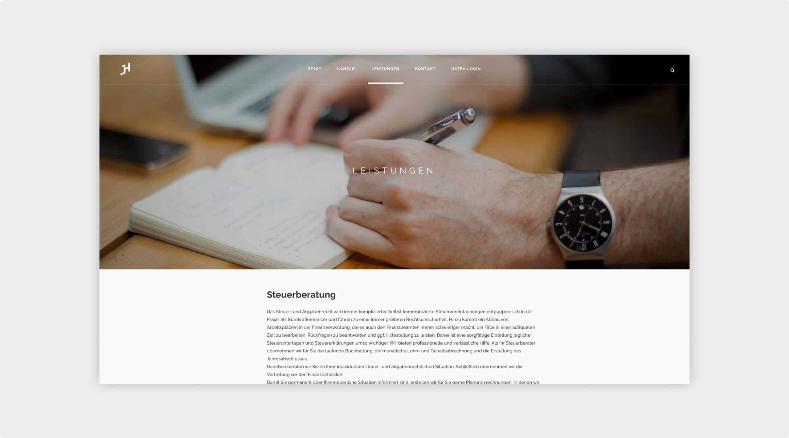 Screenshot der Unterseite