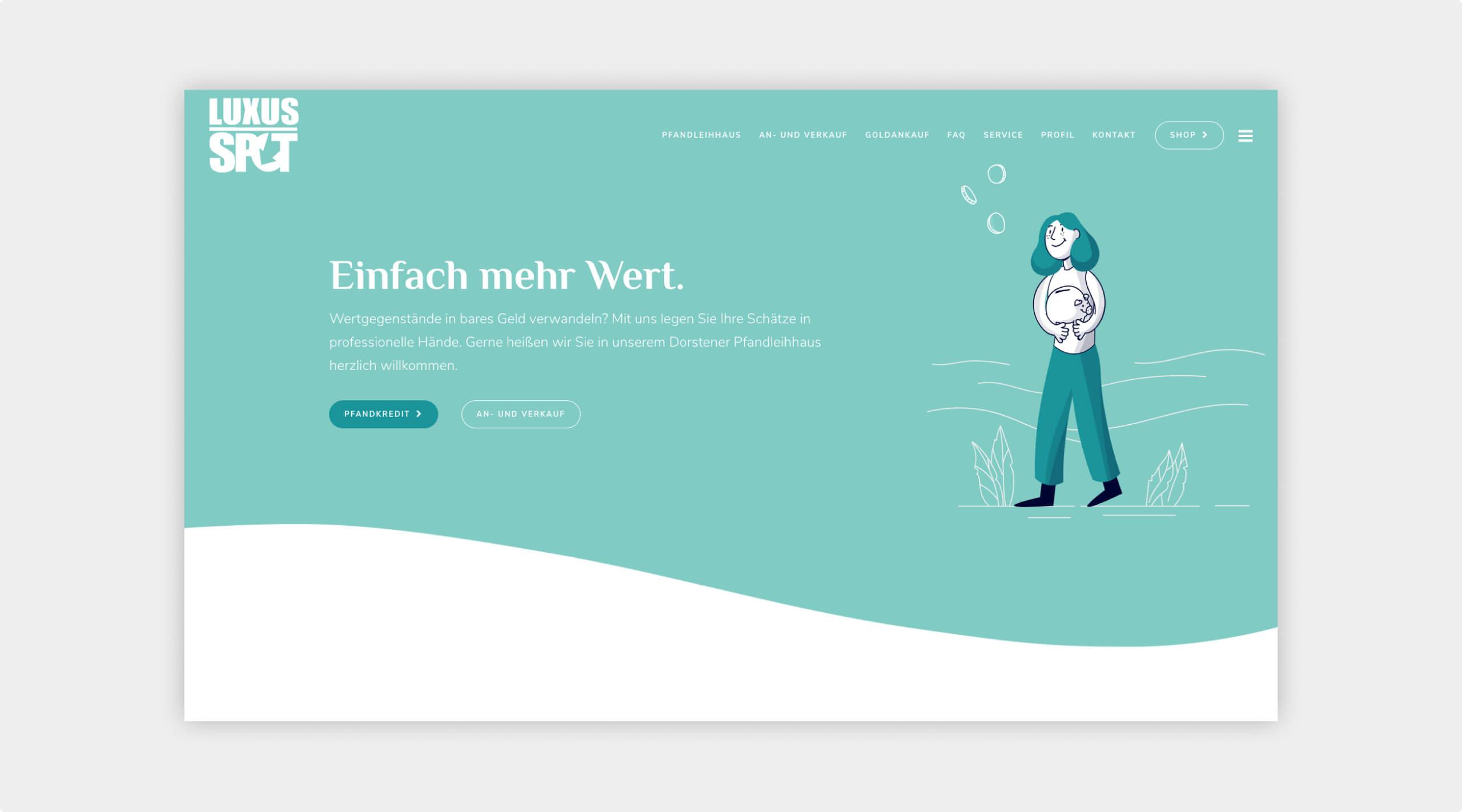 Screenshot der Startseite von Luxus Spot mit einem Einleitungstext, Buttons zu den Angeboten und einer Illustration einer Frau die ein Sparschwein hält.