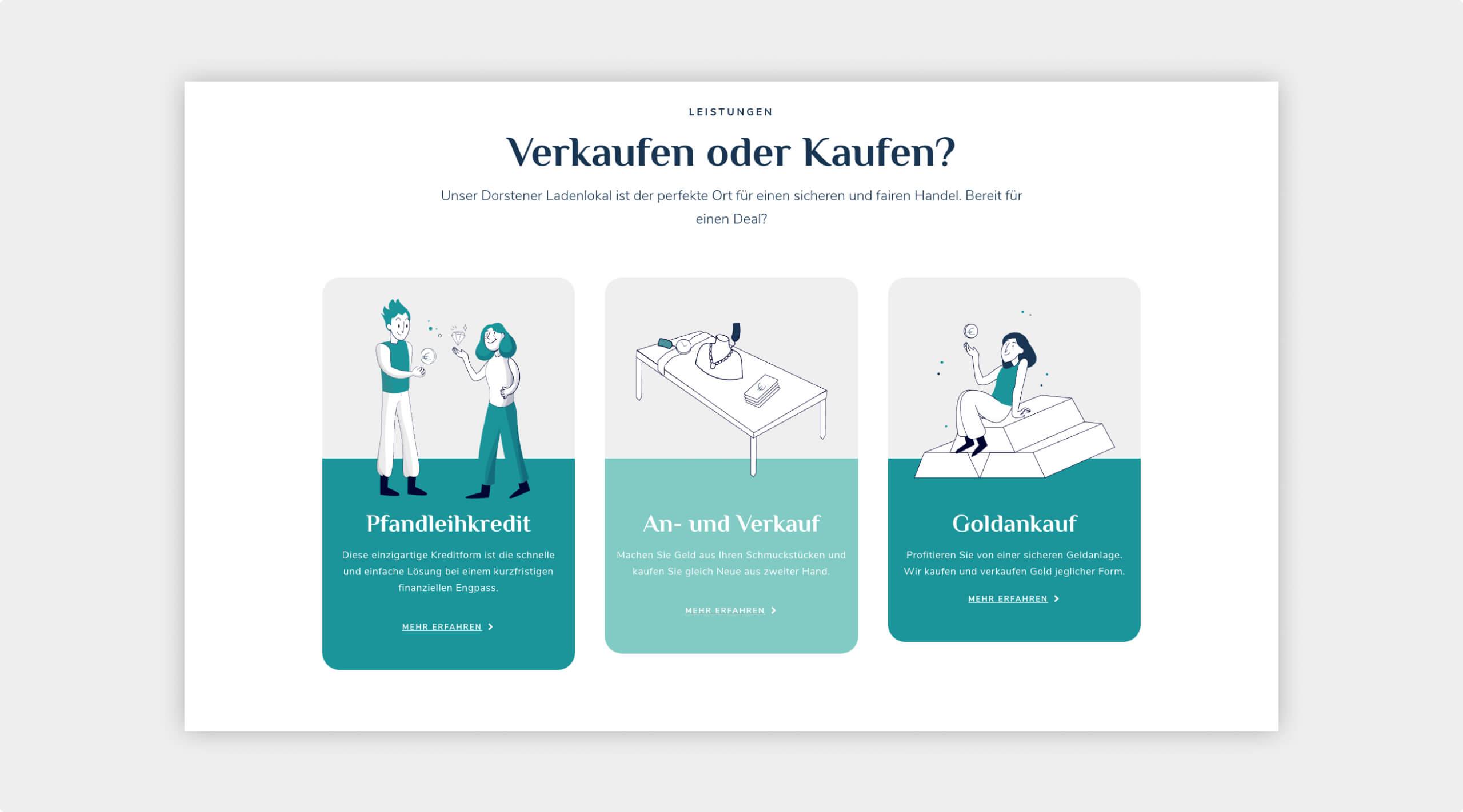 Screenshot der neuen Website von Luxus Spot zu den Leistungen in 3-spaltigem Layout mit Grafiken zu jedem Bereich.