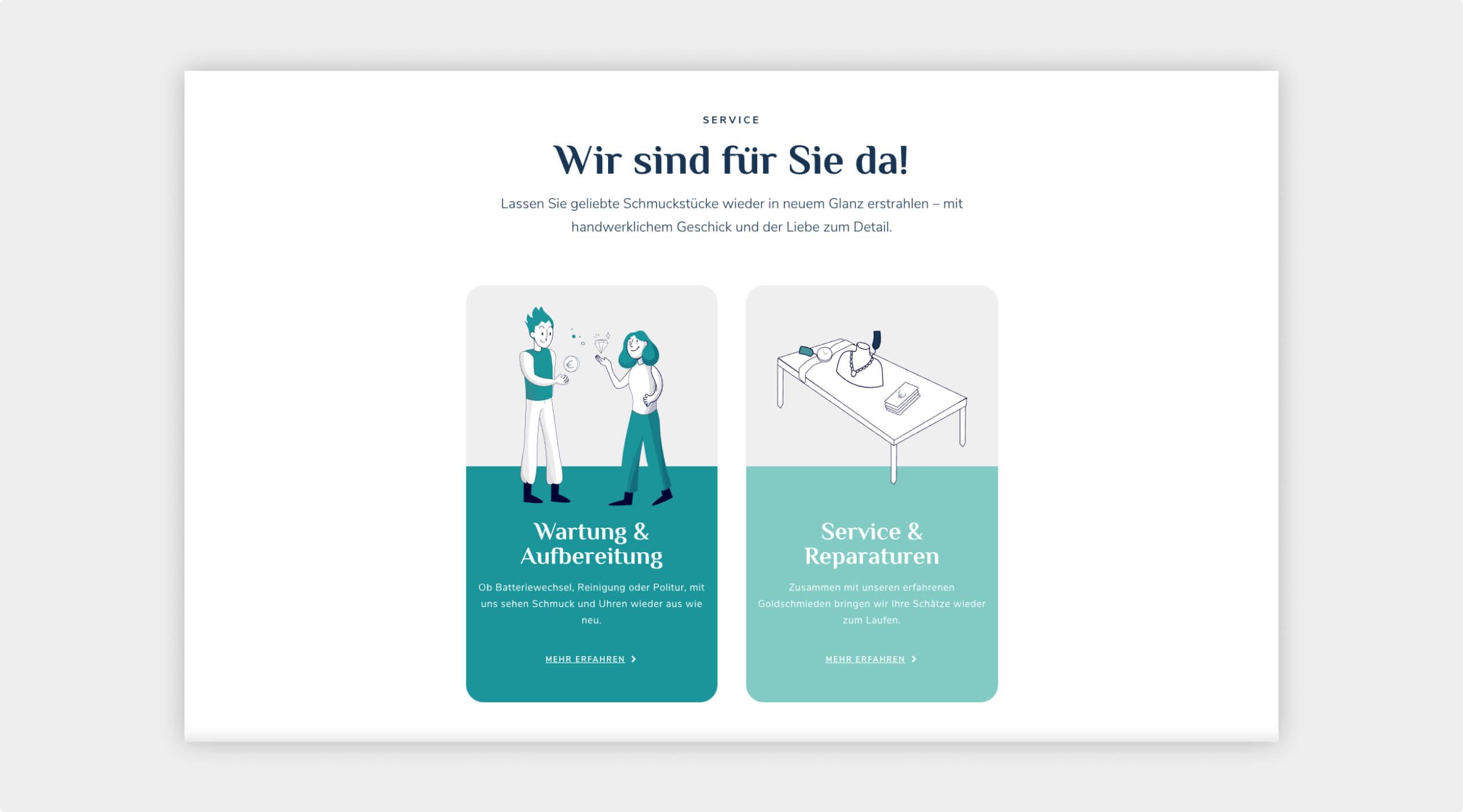 Darstellung des Service auf der Website in 2-spaltigem Layout mit Grafiken zum jeweiligen Bereich und Anlesertext.