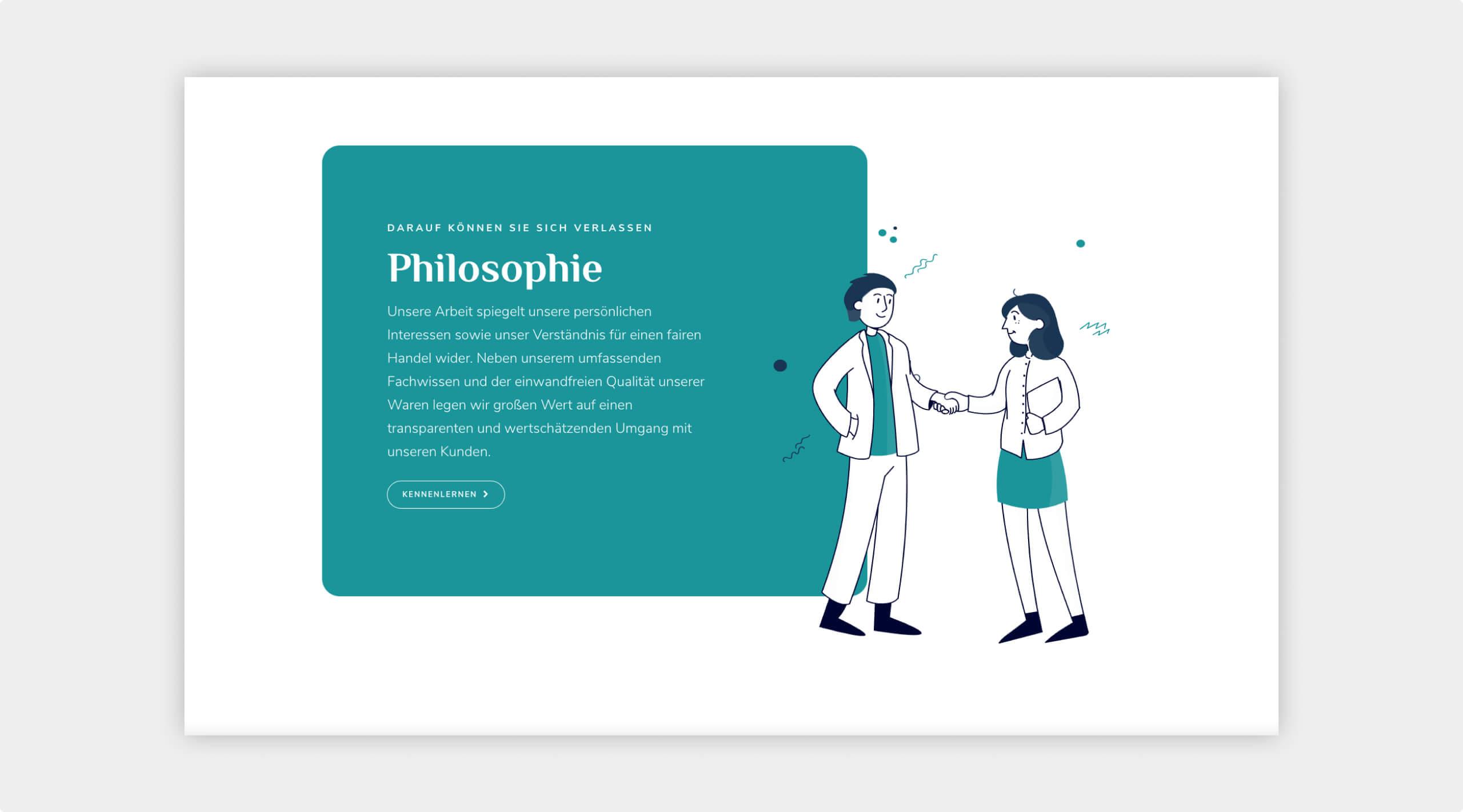 Screenshot der Website vom Bereich Philosophie mit Text und einer Illustration bei der sich zwei Leute die Hand schütteln.