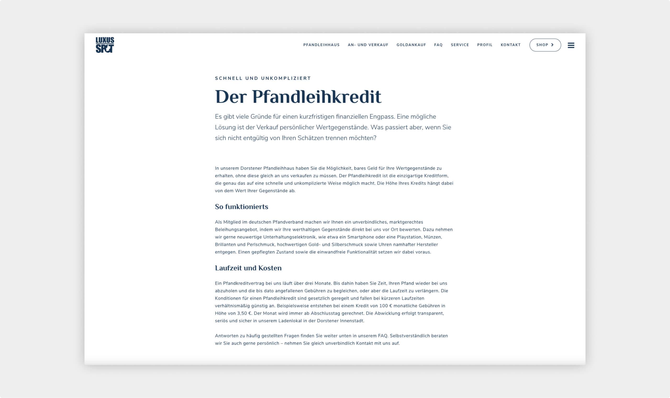 Screenshot von der Website aus dem Bereich des Pfandleihkredits mit Erklärung was ein Pfandleihkredit ist und wie es funktioniert.