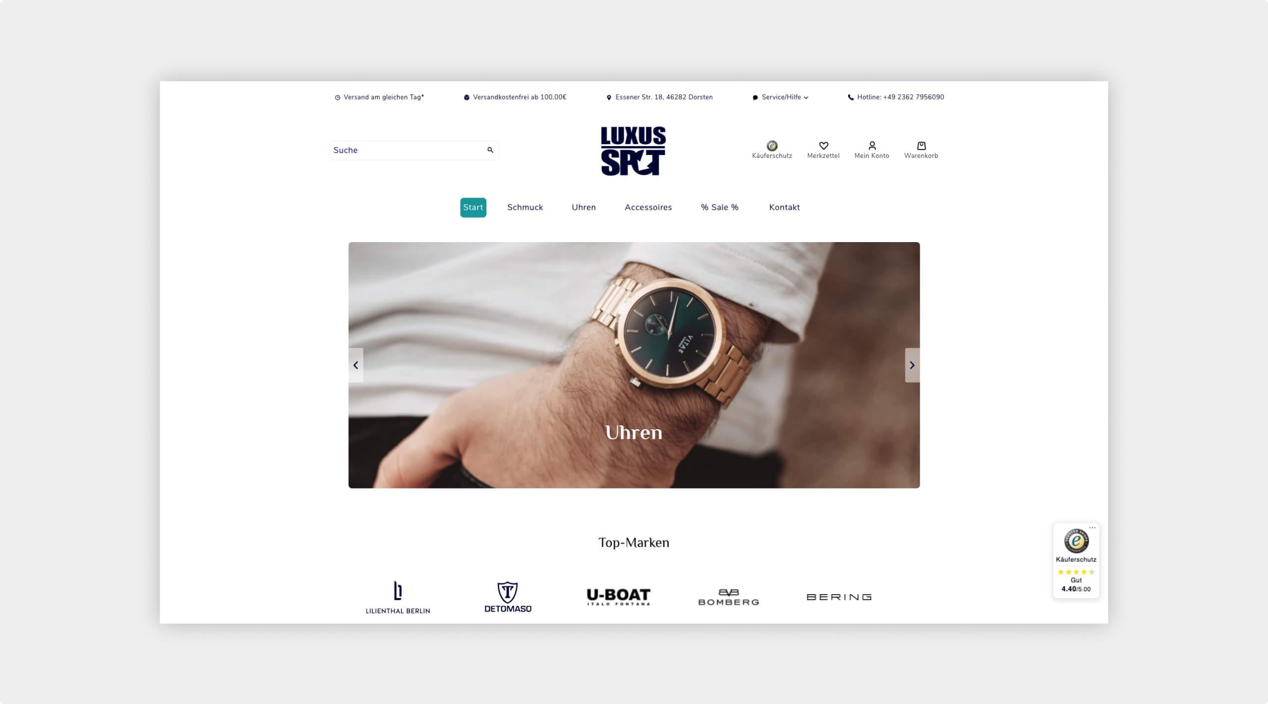 Screenshot der Startseite des Webshops von Luxus Spot mit großem Titelbild auf dem eine luxuriöse Uhr abgebildet ist.